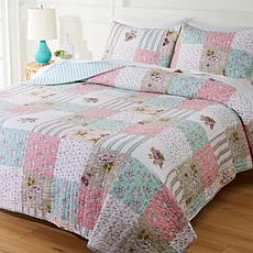 """As Is"" Cottage Collection 100% Cotton Stitched 3-pc Quilt Set - Pa..."