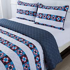 """""""As Is"""" Country Living Home Collection Flag Fun Americana Quilt Set"""