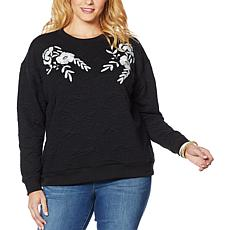 """As Is"" Curations Quilted Sweatshirt with Applique"