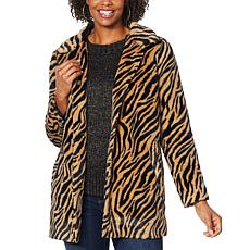 """As Is"" Democracy Animal Patterned Faux Fur Coat"