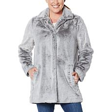 """""""As Is"""" Democracy Fully Lined Faux Fur Coat with Frosted Tipping"""