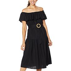 """""""As Is"""" Democracy Off-Shoulder Tiered Flounce Dress with Belt"""