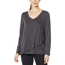 """As Is"" DG2 by Diane Gilman Asymmetric Drape Front Drama Tunic Top"