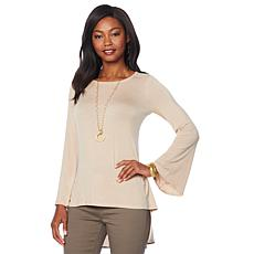 """""""As Is"""" DG2 by Diane Gilman Bell-Sleeve Hi-Low Blouse with Woven Back"""