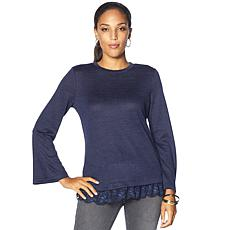 """""""As Is"""" DG2 by Diane Gilman Bell-Sleeve Top with Lace Hem"""