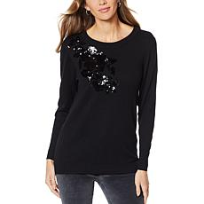 """As Is"" DG2 by Diane Gilman  Blend Sequin Floral Sweater"