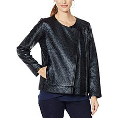 """""""As Is"""" DG2 by Diane Gilman Bonded Faux Leather and Ponte Jacket"""