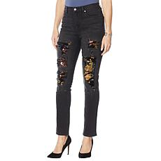 """As Is"" DG2 by Diane Gilman Destructed Sequin Patched Skinny Jean"