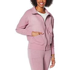 """""""As Is"""" DG2 by Diane Gilman """"DG Downtime"""" Knit Flex Zip-Up Track Ja..."""