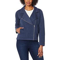 """""""As Is"""" DG2 by Diane Gilman Fleece Zip-Front Moto Jacket"""