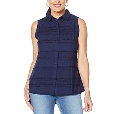 """""""As Is"""" DG2 by Diane Gilman Fringed Button-Up Sleeveless Shirt"""