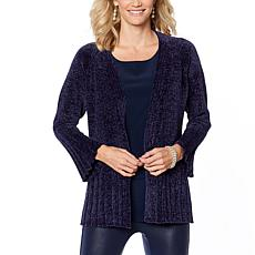 """As Is"" DG2 by Diane Gilman Heathered Chenille Cardigan"