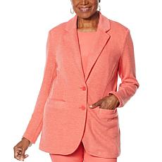 """As Is"" DG2 by Diane Gilman Heathered Double Knit Blazer"