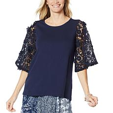 """""""As Is"""" DG2 by Diane Gilman Lace-Sleeve Top"""