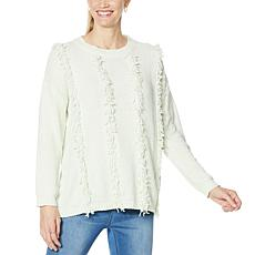 """As Is"" DG2 by Diane Gilman Looped Chenille Fringed Pullover Sweater"