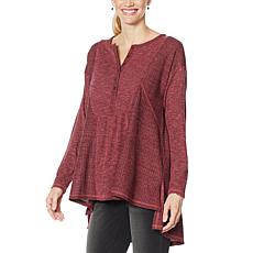 """""""As Is"""" DG2 by Diane Gilman Oversized Mixed Media Henley Top"""