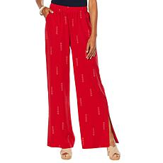 """As Is"" DG2 by Diane Gilman Side-Slit Wide-Leg Pant"