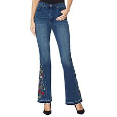 """As Is"" DG2 by Diane Gilman Virtual Stretch Embroidered Flare Jean"