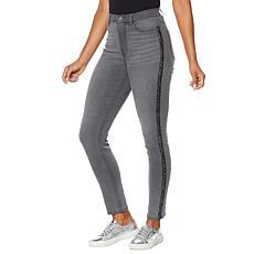 """As Is"" DG2 by Diane Gilman Virtual Stretch Sequin Stripe Skinny Jean"