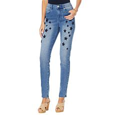 """As Is"" DG2 by Diane Gilman Virtual Stretch Star Embroidered Skinny..."