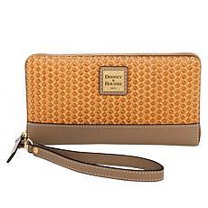 """""""As Is"""" Dooney & Bourke Beacon Woven Leather Zip Wallet Wristlet"""