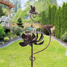 """As Is"" Exhart Bronze Lotus Flower Spinner Garden Stake"