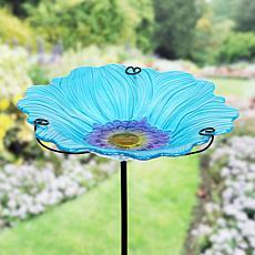 """""""As Is"""" Exhart Glass Flower Bird Bath Garden Stake"""