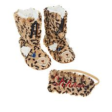"""As Is"" Foot Petals Critter Bootie Slipper and Sleep Mask Set"