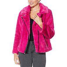 """""""As Is"""" G by Giuliana Black Label Faux Fur Moto Jacket"""