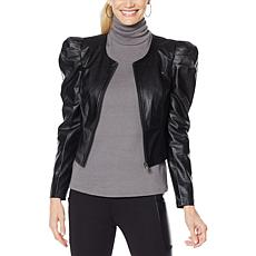 """""""As Is"""" G by Giuliana Black Label Puff-Sleeve Faux Leather Jacket"""