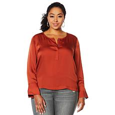 """""""As Is"""" G by Giuliana Hammered Satin Blouse"""