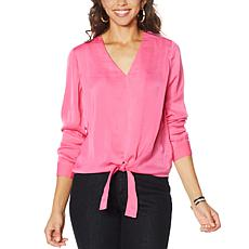"""As Is"" G by Giuliana Hammered Satin Tie-Front Blouse"