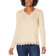 """""""As Is"""" G by Giuliana Lace Detail Knit Top"""
