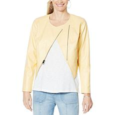 """""""As Is"""" G by Giuliana Lightweight Faux Leather Moto Jacket"""