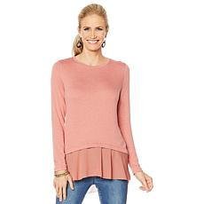 """As Is"" G by Giuliana Lightweight Sweater with Chiffon Hem"