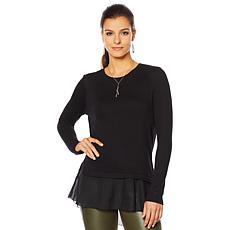 """As Is"" G by Giuliana Lightweight Sweater with Chiffon Hem"