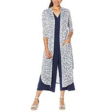 """As Is"" G by Giuliana Printed Slub Knit Duster Cardigan"