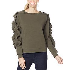 """""""As Is"""" G by Giuliana Ruffle Detail Sweatshirt"""