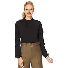 """As Is"" G by Giuliana Stretch Crepe Mock-Neck Top with Ruffle Sleeve"