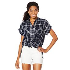 """As Is"" G by Giuliana Woven Plaid Button-Down Top"