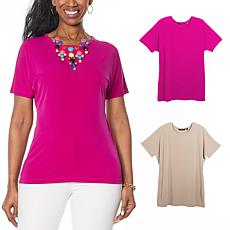 """""""As Is"""" IMAN City Chic 2-pack Tee with Necklace"""