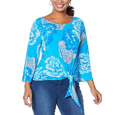 """As Is"" IMAN City Chic 3/4-Sleeve Tie-Front Top"
