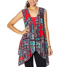 """As Is"" IMAN City Chic Scarf Vest with Tank"