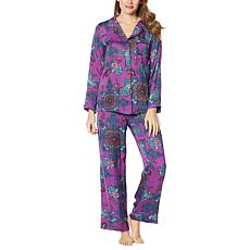 """As Is"" IMAN Global Chic 2-piece Medallion Paisley Print Pajama Set"
