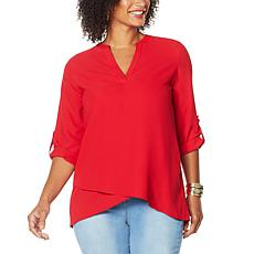 """""""As Is"""" IMAN Global Chic Asymmetric Y-Neck Top"""
