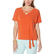 """""""As Is"""" IMAN Global Chic Crisscross V-Neck Top with Tie Hem"""