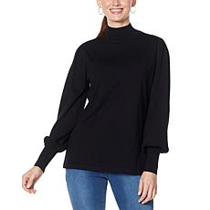 """As Is"" IMAN Global Chic Lantern-Sleeve Knit Top"