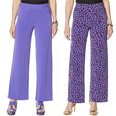 """As Is"" IMAN Global Chic Luxury Resort 2 Pack of Palazzo Pants"