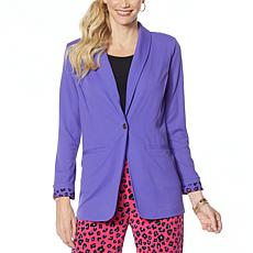 """As Is"" IMAN Global Chic Luxury Resort Blazer with Printed Cuffs"