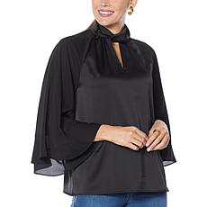 """As Is"" IMAN Global Chic Mock Neck 3/4 Ruffle Sleeve Woven Top"